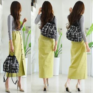 GU新作キレイ色スカート×1590円袖ボタンニットでコーデ
