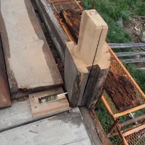 蔵の再生・柱にホゾを刻む(2021年4月14・15日)