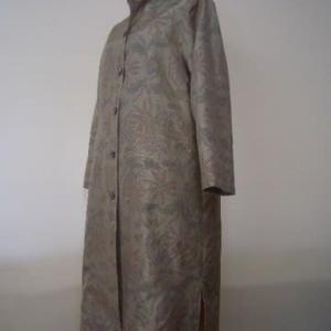 白大島紬の着物からロングコート(オーダー)