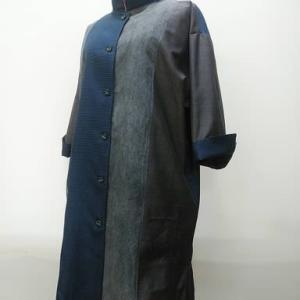 柿渋ジェルから乱菊型染め大島組み合わせスプリングコート