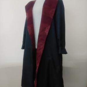 大島紬のフード付きスプリングコート