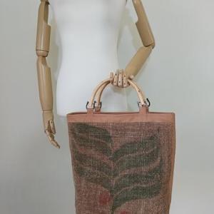 珈琲豆麻袋・柿渋染め手提げバッグ