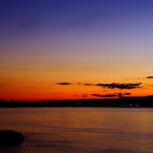 相模湾今朝の朝焼け日ノ出。