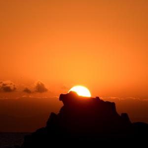 今朝の日ノ出&アオバト海上飛翔。