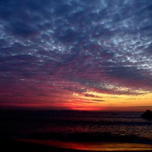 ウロコ雲の朝焼け。