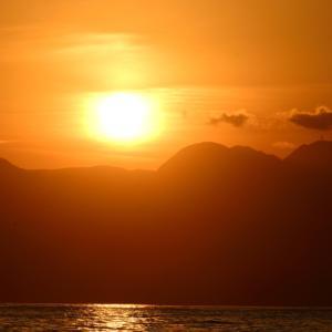 照ヶ崎海岸夕陽&夕富士。