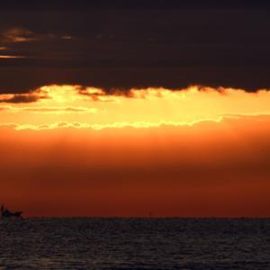 相模湾の朝焼け。