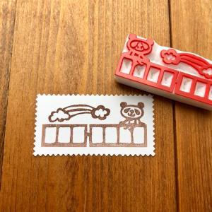 郵便番号枠はんこ パンダ と 猫