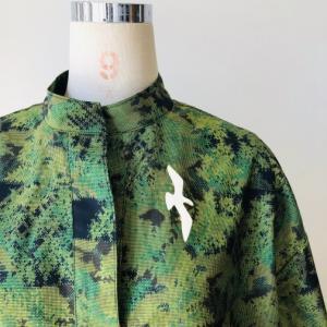 着物着物リメイク/大島のお着物から変わりVネックワンピ