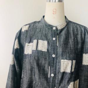 着物リメイク・紬の着物からピンタックワンピ