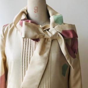着物リメイク・紬の着物からピンタックワンピ2
