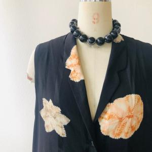 着物リメイク・羽織からロングジレ