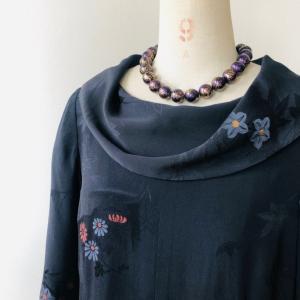 着物リメイク・羽織からロールカラーのワンピ