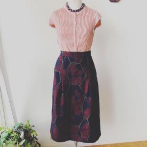 着物リメイク・紬のお着物からスカート
