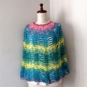 かぎ針で編むカラフルケープ7