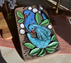 30.Ninnie Forsgren 2羽の青い鳥の陶板画