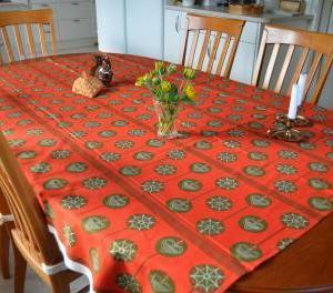 39.クリスマスツリー飾りのパターン ヴィンテージテーブルクロス