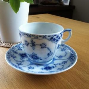 9.Royal Copenhagen  Blue Fluted Half Lace コーヒーC&S