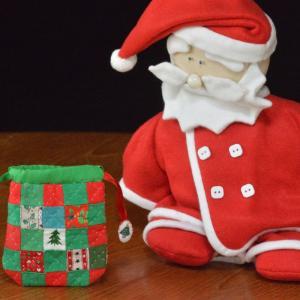 完成! クリスマスカラーのハギレでミニ巾着 Ver1