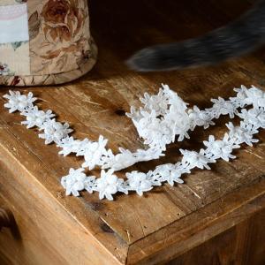 「花形モチーフ レースの巾着」作り 底部のパイピングを済ませました