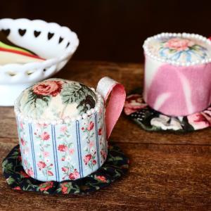 完成! パッチワークで作る「コーヒカップ型ピンクッション」ver2