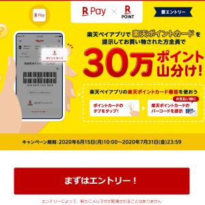 楽天Pay☆「楽天ポイントカード機能利用で30万ポイント山分けキャンペーン」がスタートヾ(≧▽≦)ノ