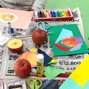 出張アート「りんごの量感画」