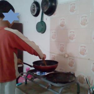息子の初 火をつかった料理