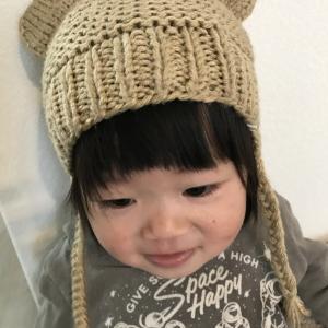 手作りニット帽子