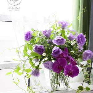 パープルでまとめて 新盆の供養花