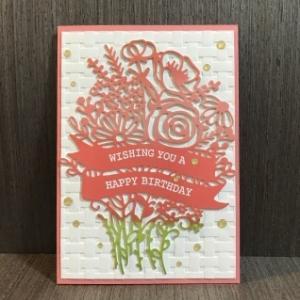 華やかな花束の誕生日カード…ピンクバージョン