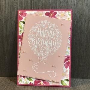 花束で出来た風船の誕生日カード