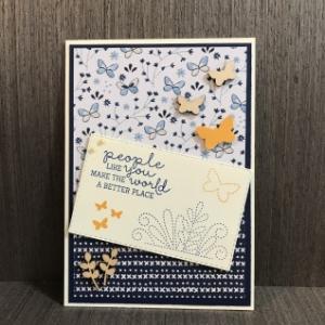 刺繍と蝶々のカード〜No.25