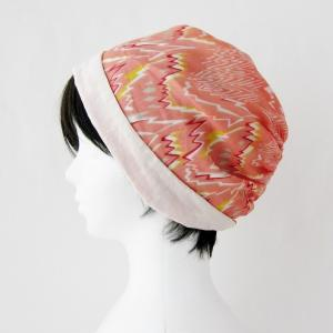 新作! 夏のターバン風帽子 サーモンピンクにジグザク模様