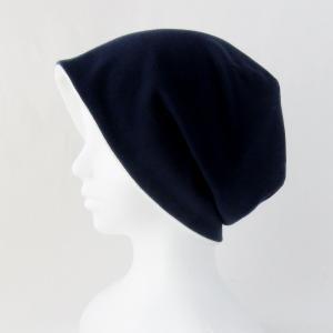 秋冬に使える ゆったりタオルの帽子 紺/白