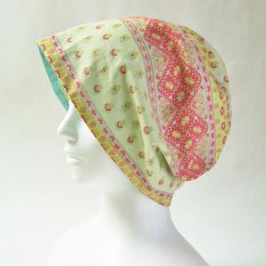 優しい色合い プロバンス風花柄のガーゼ帽子 在庫補充