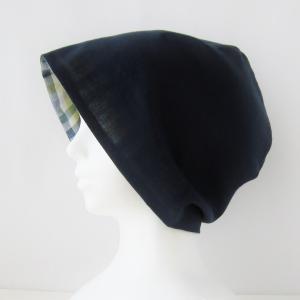 人気! 夏用 紺と野菜色のギンガムチェックの帽子