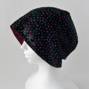 新作! 黒にカラフルドット ガーゼの帽子