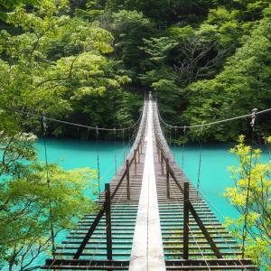 静岡 現場逃避の旅② 「寸又峡 湖上をふわり夢のつり橋」
