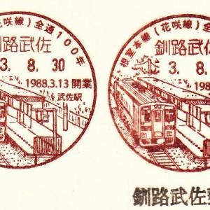 釧路武佐郵便局 根室本線(花咲線)開通100周年記念小型印