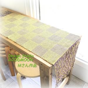 手織り教室生徒さん作品:ブロックに見える網代のマット