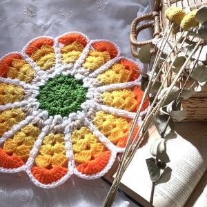 毛糸のお花おざぶ