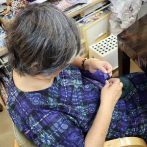 裁縫 & 刺繍 ~ 青海波(せいかいは)模様の巾着バッグ ~