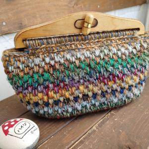 MIX毛糸でポコポコ編みのクラッチ風バッグ♪