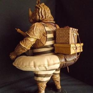 サイの親子の革人形を作る その171