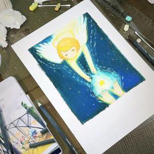 天使オラクルカード制作中のアトリエの様子をお届け!