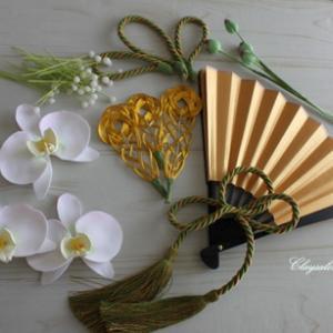 和装の胡蝶蘭の扇子ブーケ