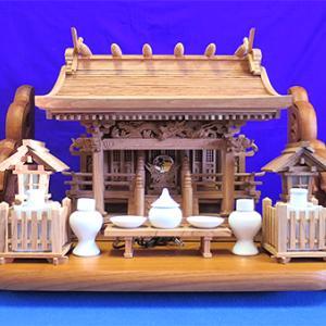 【GW限定】神棚セット!総欅 流れ屋根三社二本柱+欅 棚板【大売出し】
