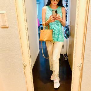 夏コーデ〜ホワイトの裾レースパンツ