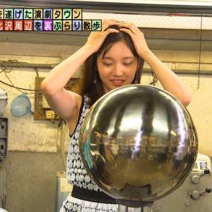 モヤさま田中瞳アナ 透け透けノースリーブで脇全開!!【GIF動画あり】